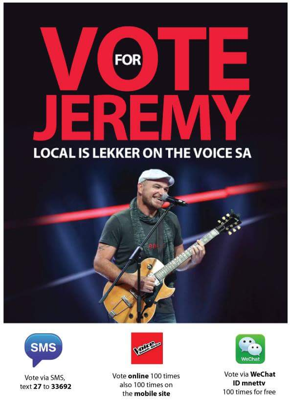 Vote for Jeremy – SMS 27 to 33692