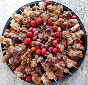 Meat and chicken kebab platter