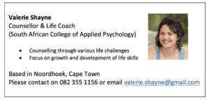 Valerie Shayne Counsellor & Life Coach